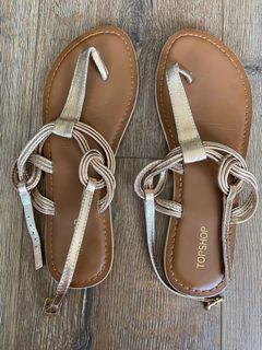 Topshop Gold Sandals - size 7
