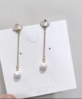 皇冠鑽石珍珠垂吊長耳環耳夾