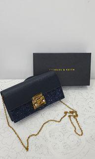 Charles &Keith Glittered Wallet Chain