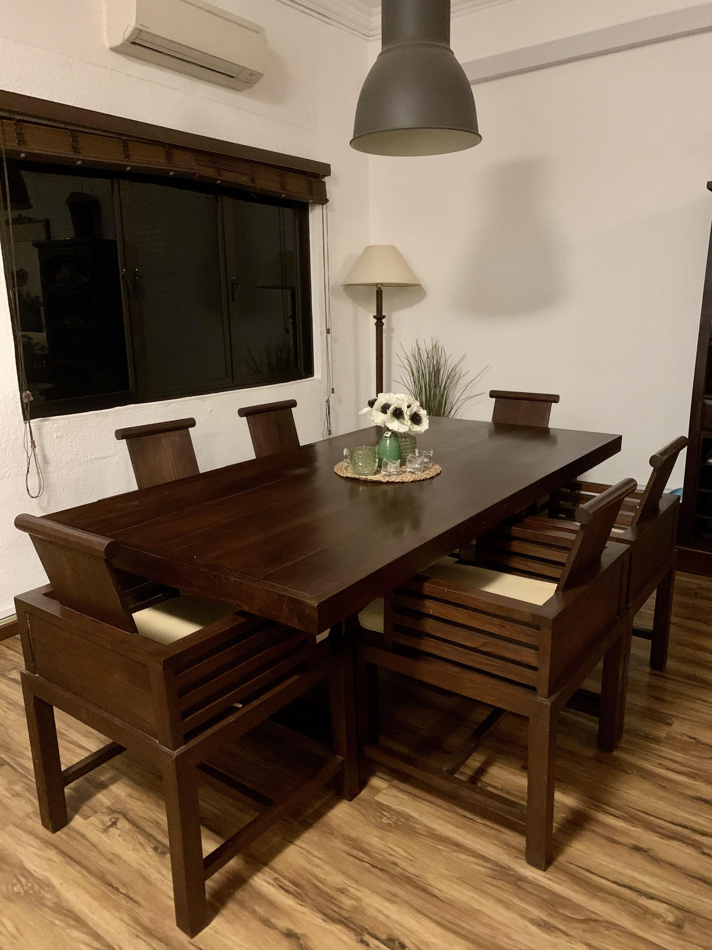 Rare High Quality Full Teak Dining Table Set Furniture Tables Chairs On Carousell