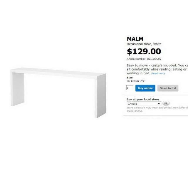 Ikea White Malm Occasional Table With Wheels Furniture Tables Chairs On Carousell