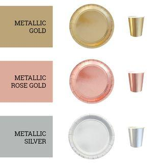 Classy Metallic Plated Partyware Rose Gold Silver Paper Plates Cups