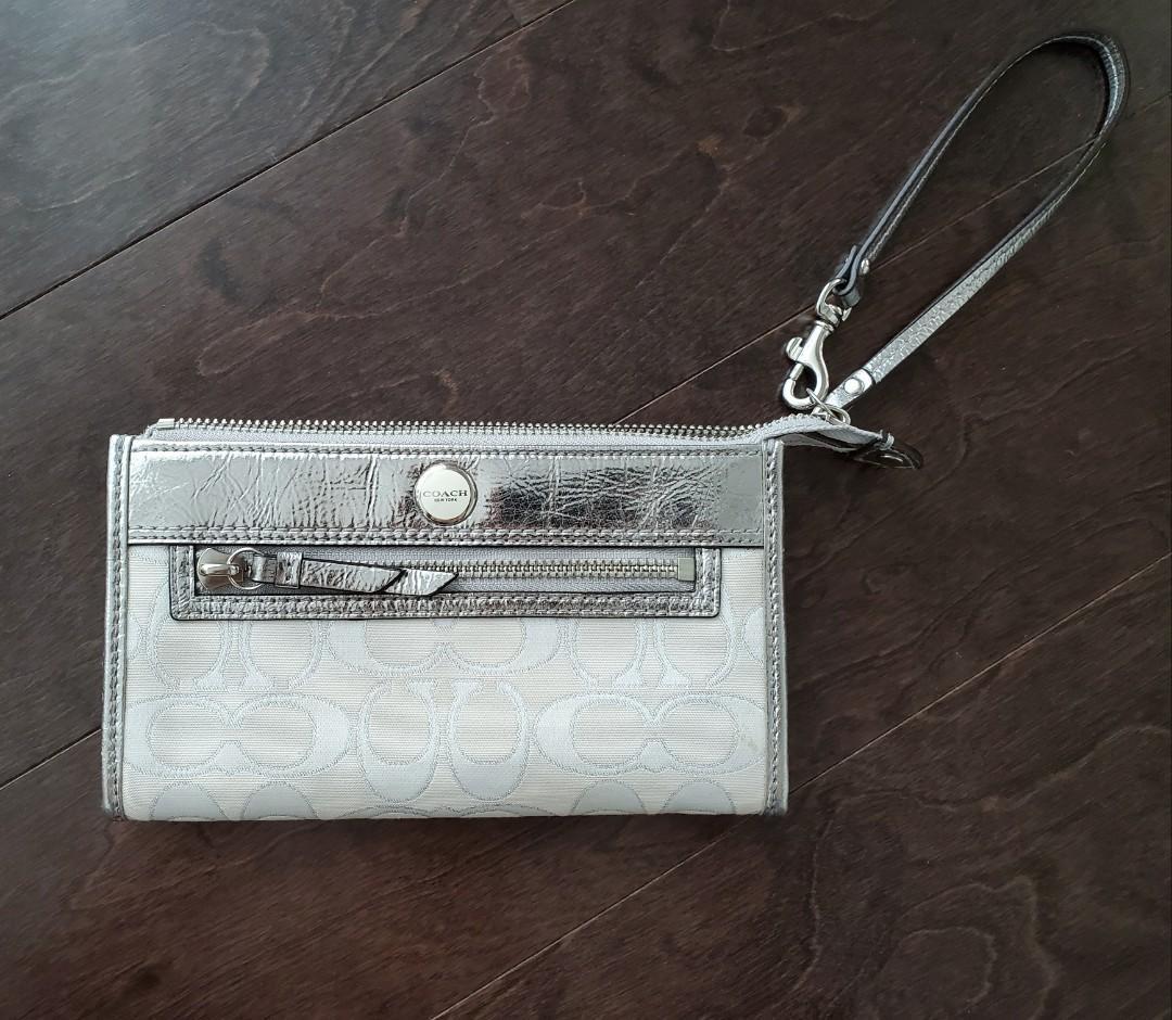 Coach White Monogram Wristlet Wallet