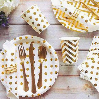 Elegant Gold Polka Dots Partyware Paper Plates Cups