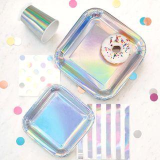 Gorgeous Iridescent Partyware Mermaid Shell Metallic Paper Plates Cups