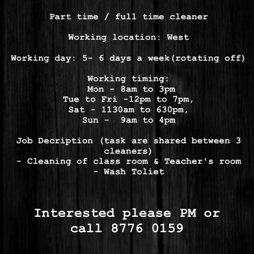 Part Time / Full Time Cleaner (West - Several Location)