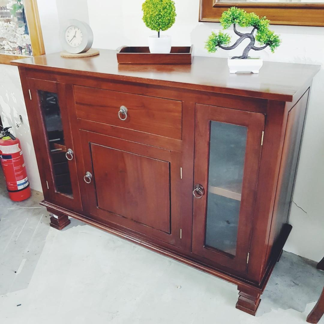 Picture of: Small Sideboard Cabinet Buffet Teakwood Classic Modern Furniture Shelves Drawers On Carousell