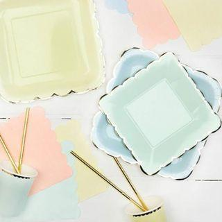 Sweet Square Scallop with Gold Edges Partyware Pastel Macaron Paper Plates Cups