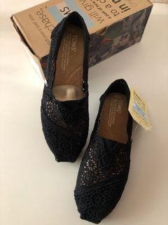 Toms Classics black Crochet 6.5 4.5 37 23.5 鏤空布蕾絲平底 透氣 休閒鞋