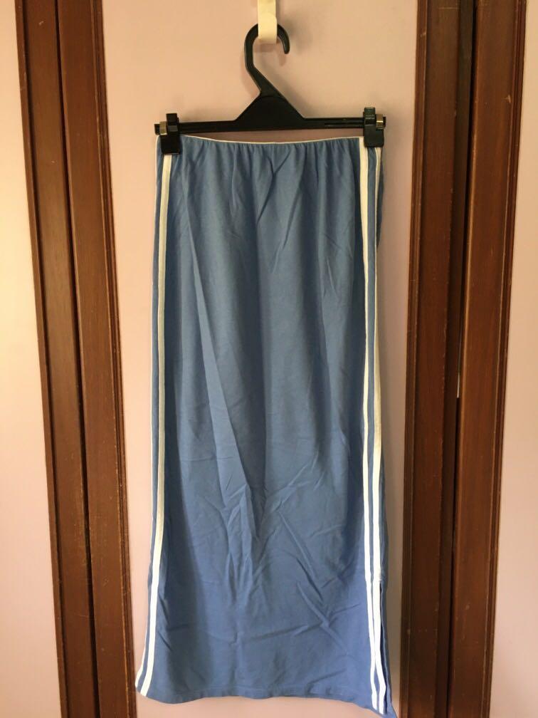 霧藍彈性長版窄裙