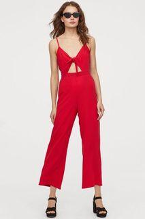 H&M Tie-Front Wide-leg Romper with Cut-out