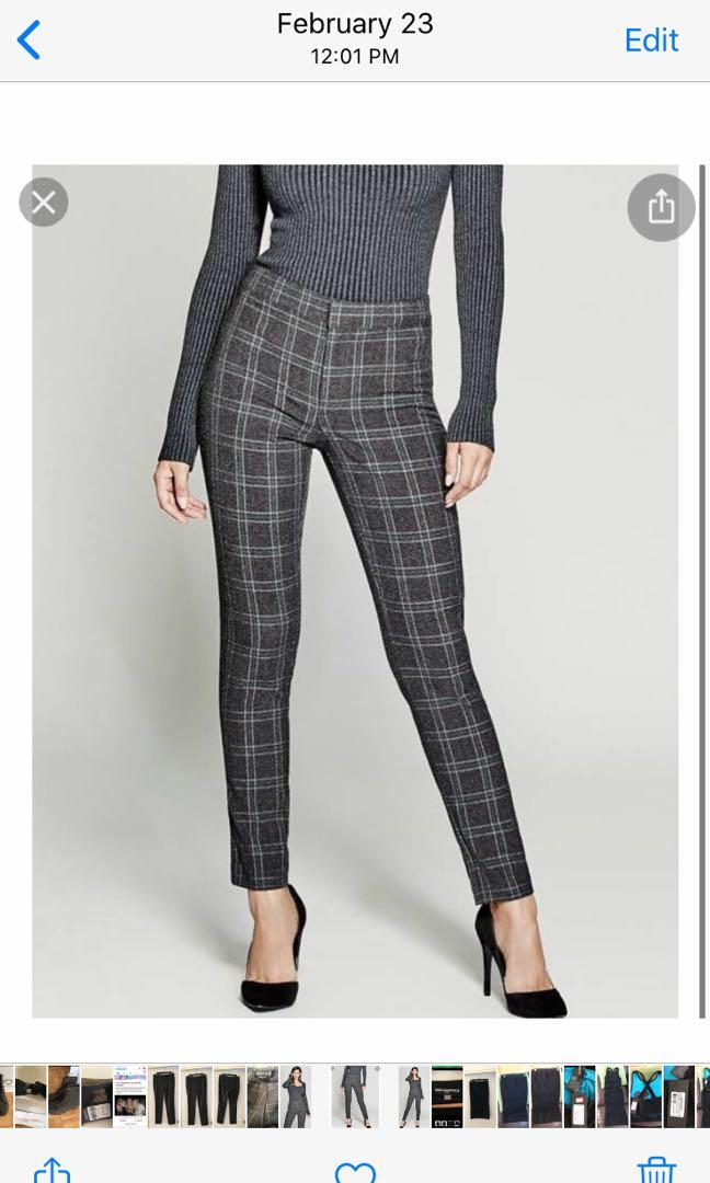 Marciano grey checkered pants, size 8