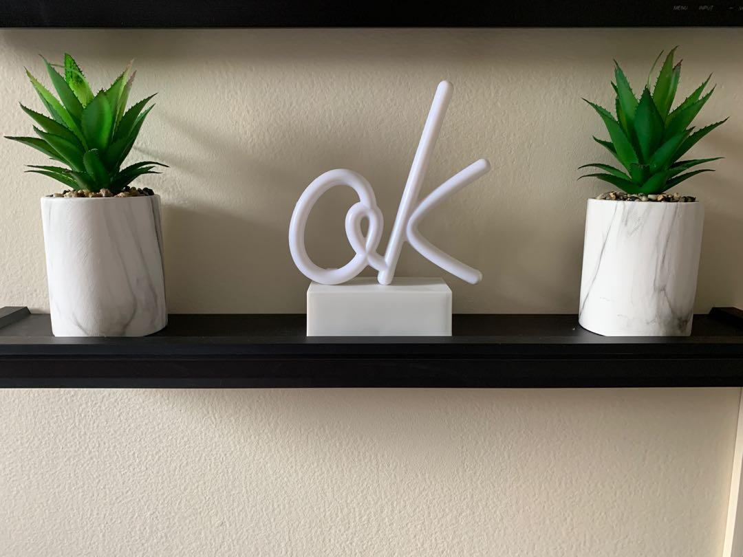 'ok' LED light up sign