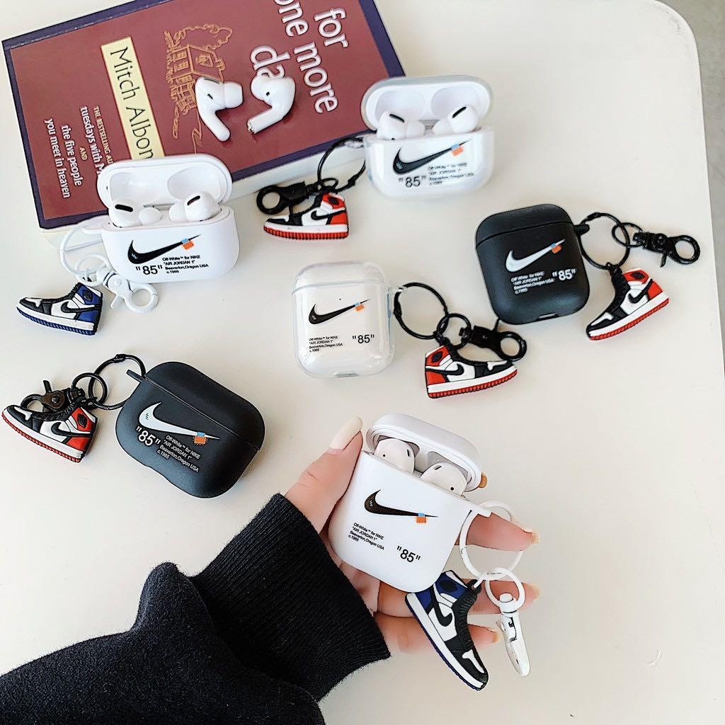 Po Off White For Nike Airpods Case With Keychain Mobile Phones