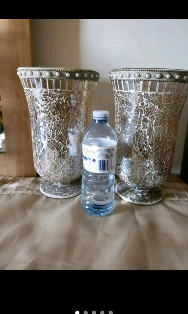 Set of 2 mosaic vases