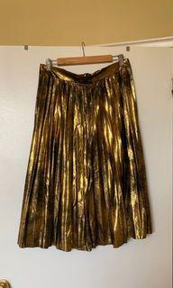 ZARA gold pleated midi dress