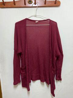 酒紅色針織罩衫