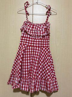 夏日紅色細肩格紋洋裝
