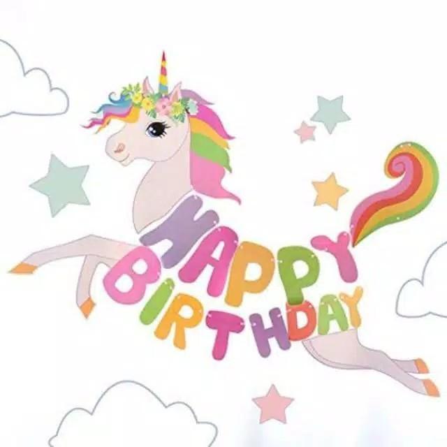 Banner Happy Birthday Unicorn Besar