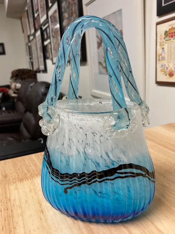 Vase Blue Bag (glass) display, and mail holder (Medium)