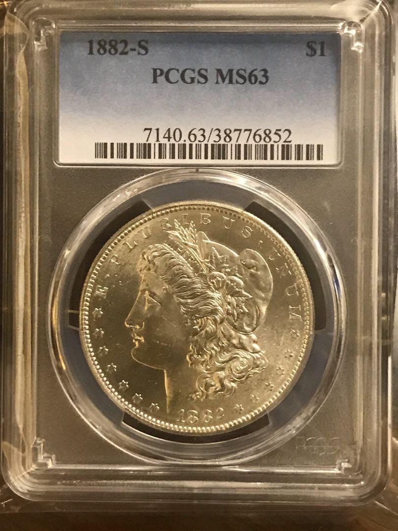 摩根銀幣1882S,MS63