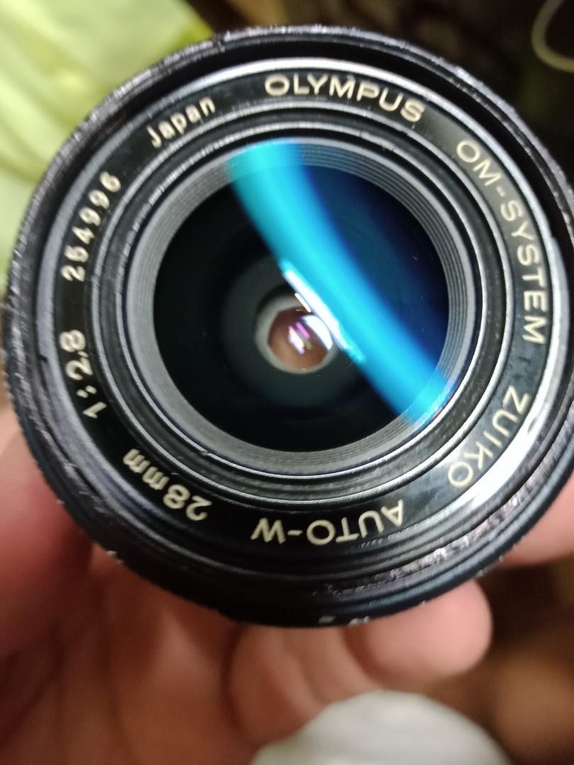 鏡頭 olympus 28mm f2.8 om 光圈 只能用最大拍攝 含保護鏡 無前後蓋