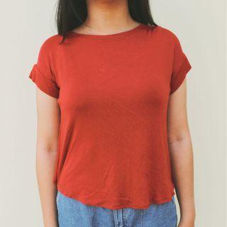 FRONT red asymmetrical shirt korean style