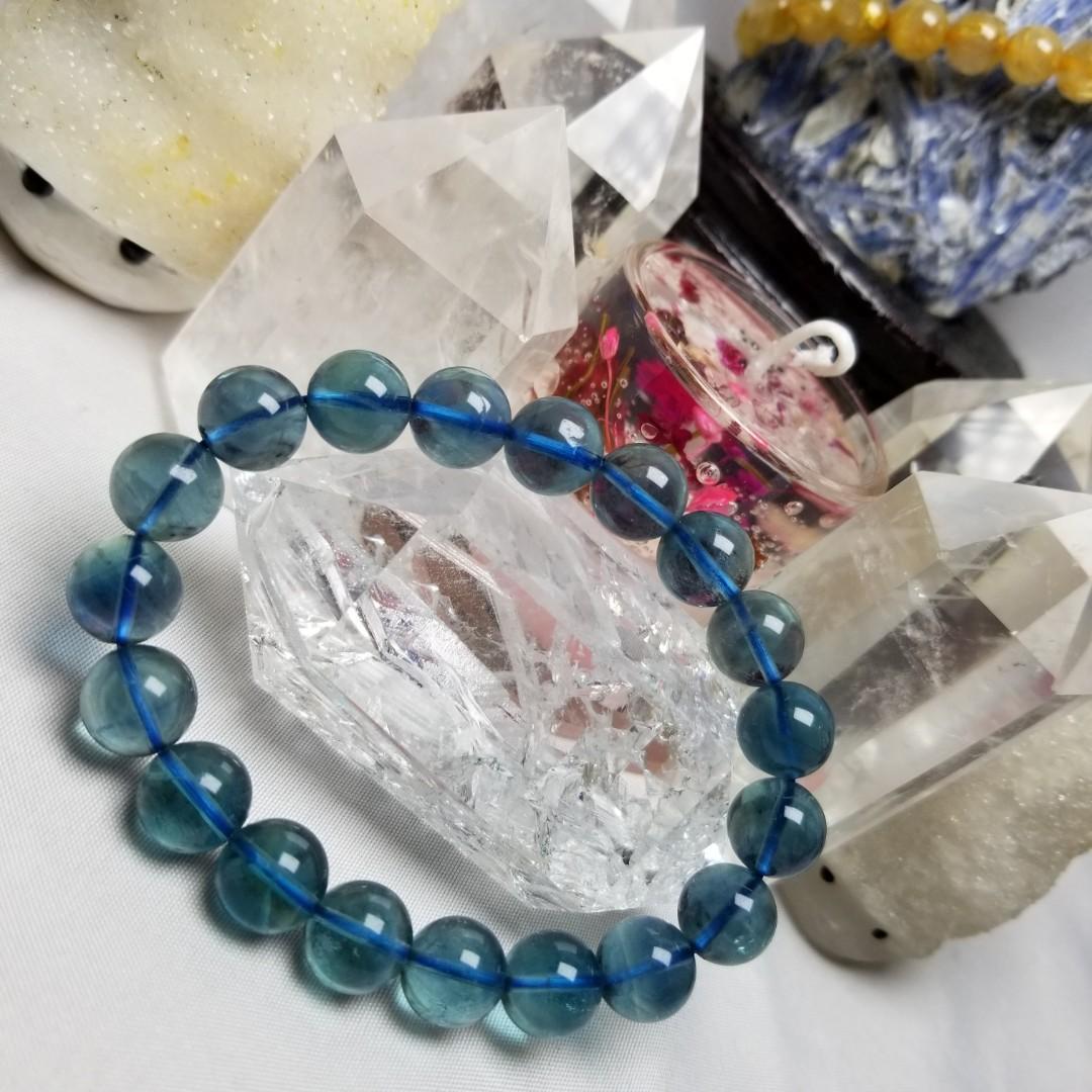 L0870D~7 水晶 藍螢石手串 10.4mm
