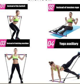 Pilates workout resistance bar
