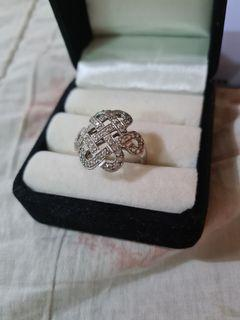 Silver Mystic Knot Ring with Zirconian Diamonds size 7