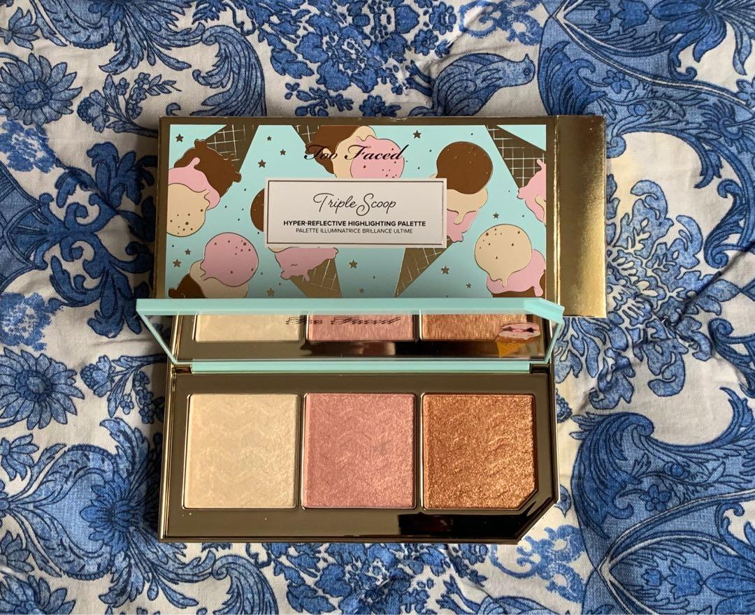 Too Faced Highlighter palette Triple Scoop