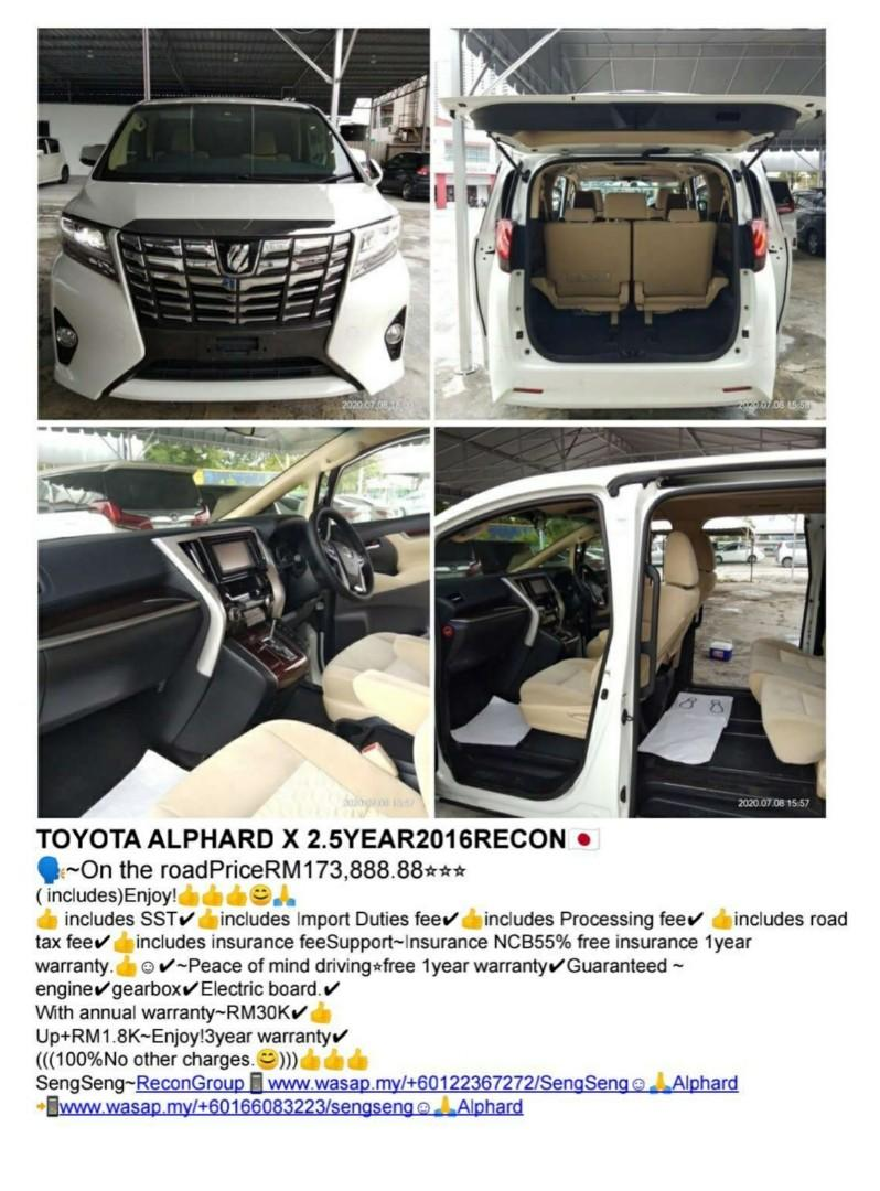 TOYOTA ALPHARD X SEPC 2016🇯🇵RECON CAR PRICE ON THE ROAD RM173,888.88 ~100%Not other charges.😊 ⭐~100%绝无别的收费😊⭐
