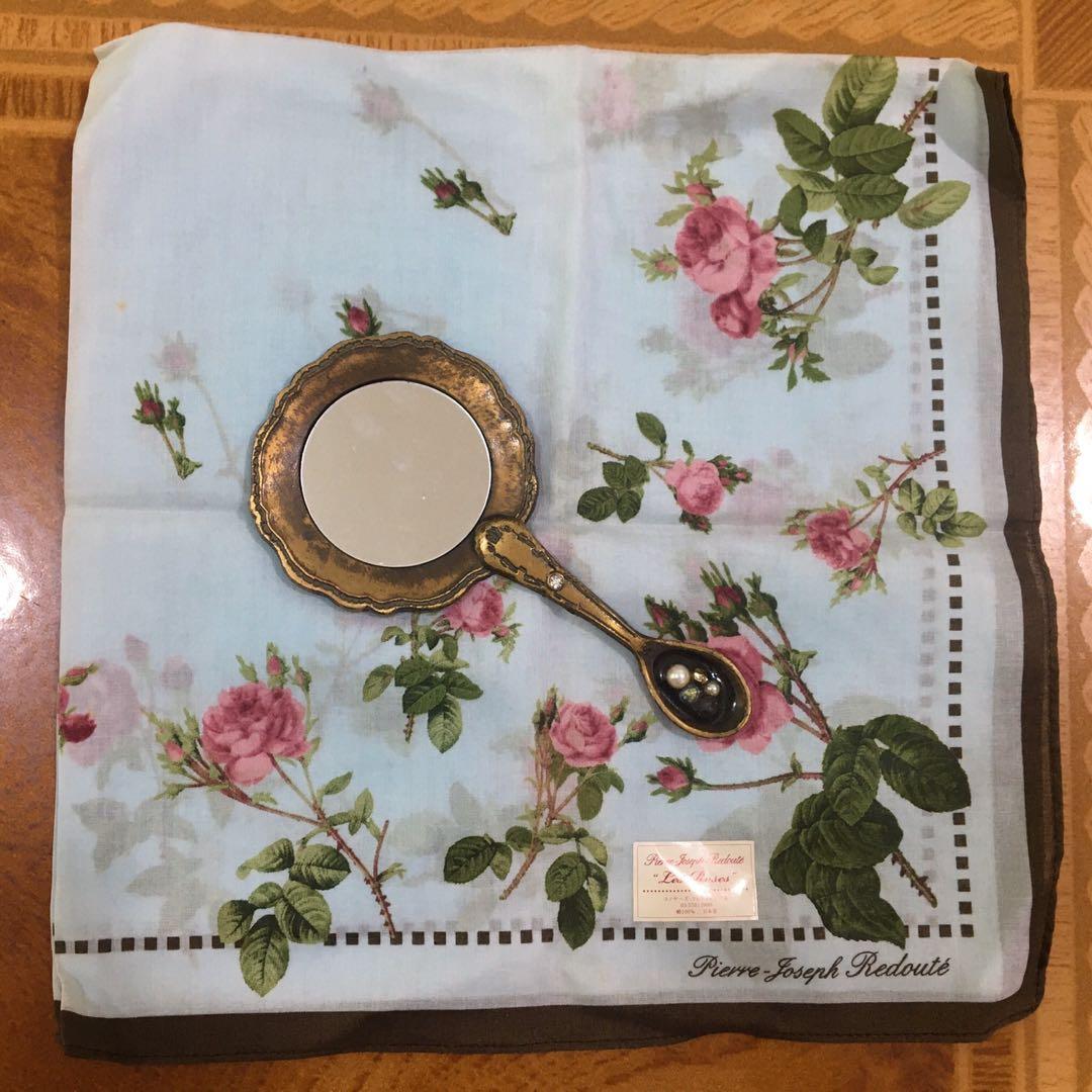 vintage floral handkerchief & mirror set 日本制手帕 復古手提鏡子