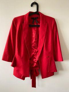 專櫃雪紡紅色西外