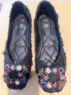 貴族氣派平底帆布女鞋
