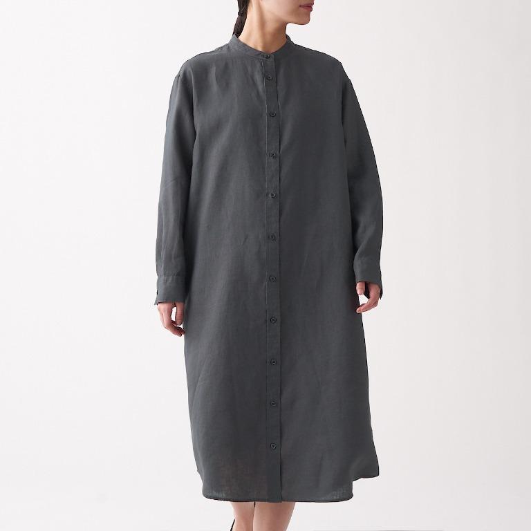 ㊣現貨快出㊣ MUJI無印良品 女法國亞麻水洗立領洋裝 (墨灰)M
