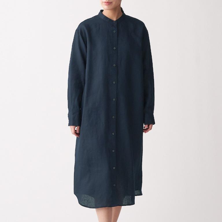 ㊣現貨快出㊣ MUJI無印良品 女法國亞麻水洗立領洋裝 (暗藍)M