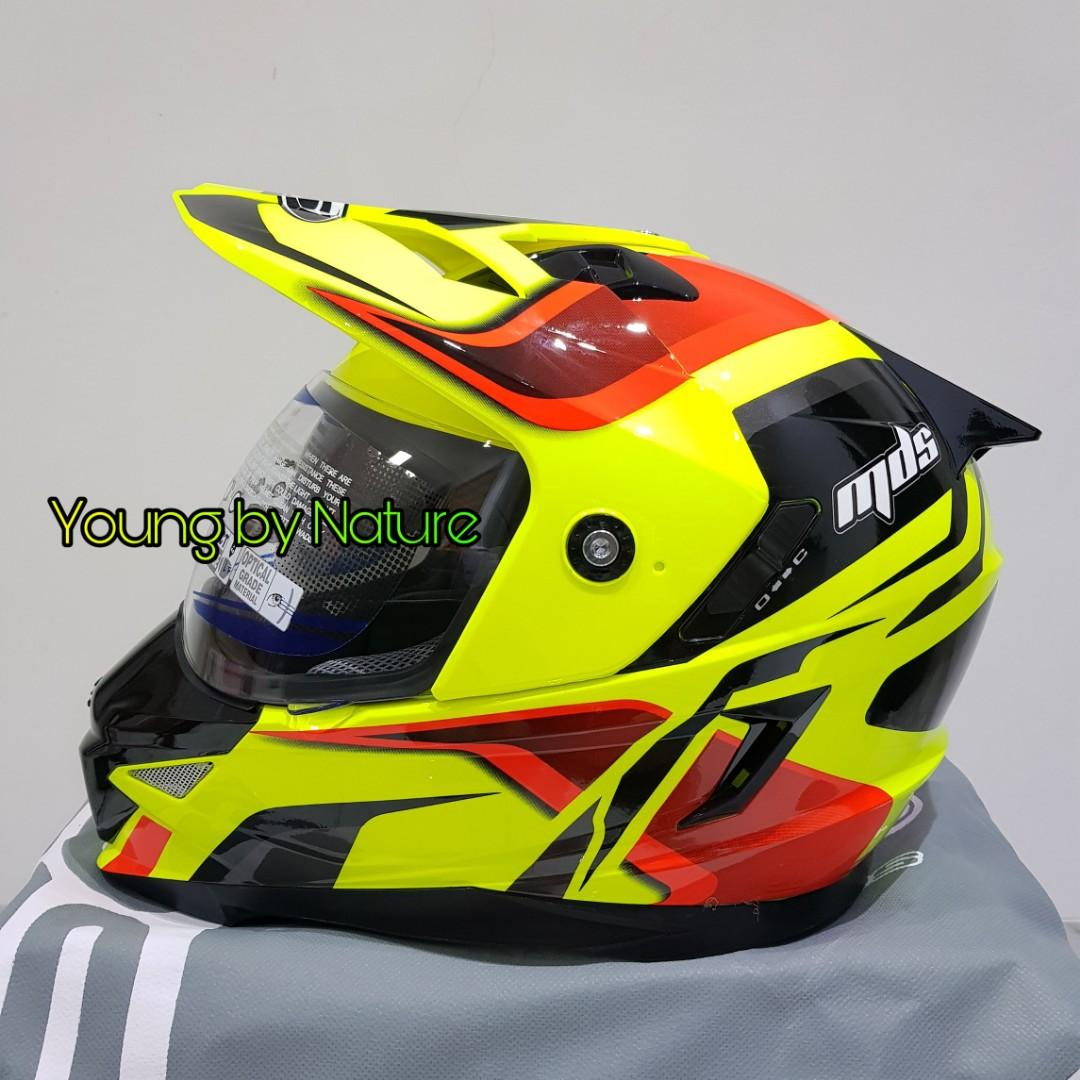 Helm MDS Super Pro #2 Supermoto Yellow Fluo Red