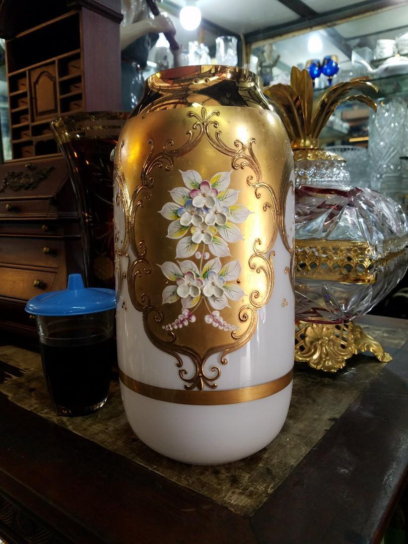 kristal enamel vase antik 25cm