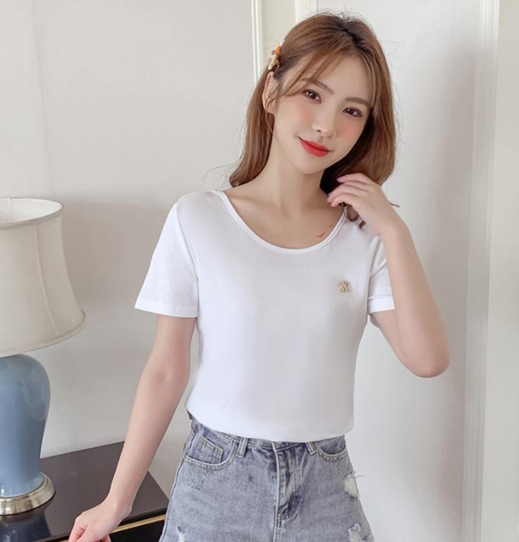 時尚修身顯瘦性感露背镂空印花T恤上衣