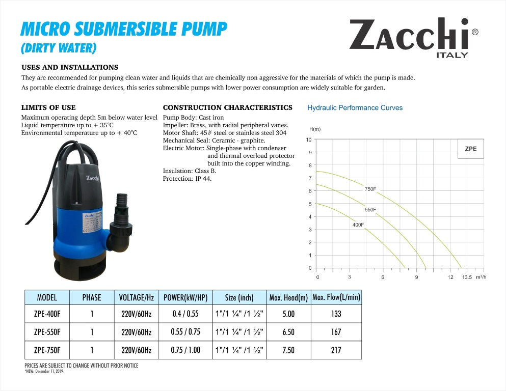 Zacchi Micro Submersible Pump for Dirty Water