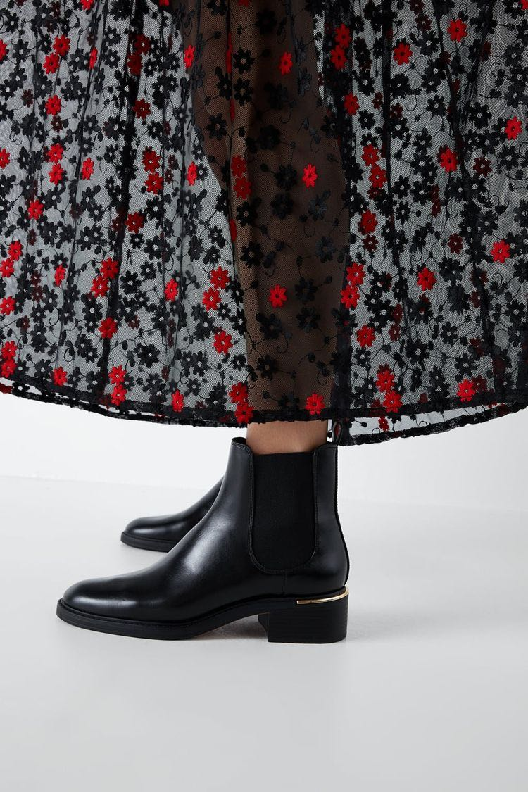 Zara Flat Ankle Boots with Heel Detail