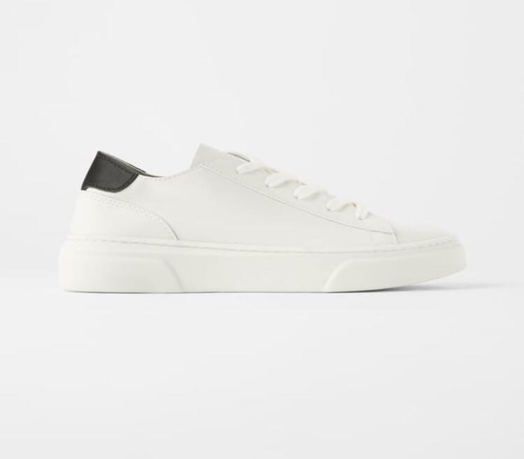 Zara White Leather Sneakers, Women's