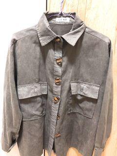 🖤✖️復古🐘灰木釦口袋襯衫外套
