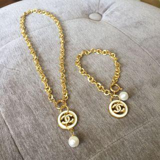 Auth Chanel repurposed gold plated necklace