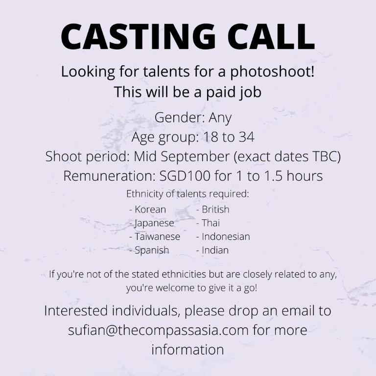 Casting Call for Major Photoshoot