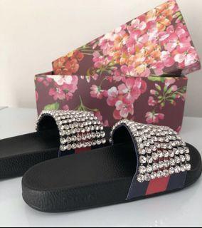 Crystal Gucci Slides