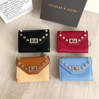 DOMPET CHARLES AND KEITH STUDDED SMALL WALLET CNK 788 ORIGINAL
