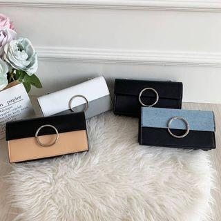 DOMPET CHARLES AND KEITH TWO TONE RING DETAIL LONG WALLET CNK 796 ORIGINAL