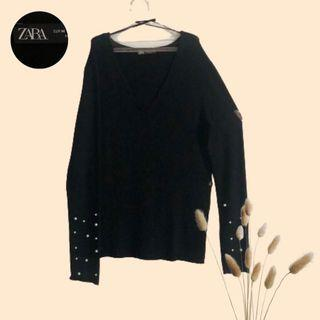 Long shirt black with pearl
